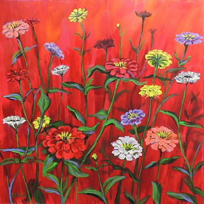 Red Geraniums Paintings Prints