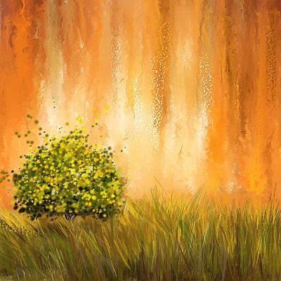 Four Seasons Tree Nature Summer Paintings
