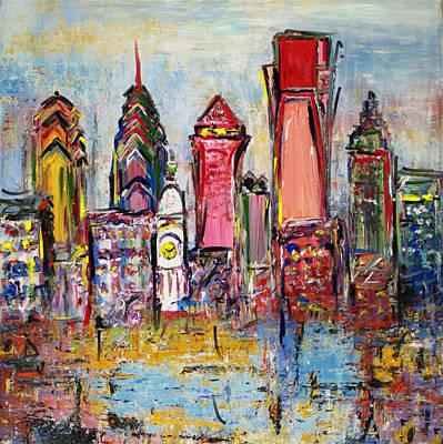 Philadelphia Skyline Paintings Original Artwork