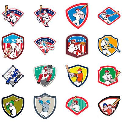 Designs Similar to Baseball Player Shield Icon Set