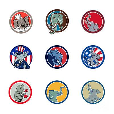 Designs Similar to Elephant Head Mascot Circle