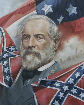 Portrait of General Robert E Lee 1865 Framed Civil War Painting on canvas