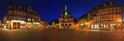Photograph - Panorama of the historic Town Hall in Wernigerode, Germany by Rainer and Simone Hoffmann