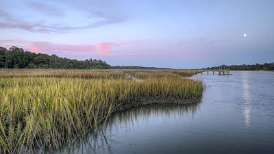 Pelican on a Pier in the Marsh Grasses at Sunset Nautical Wall Art Home Decor R