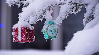 Photograph - Christmas tree covered with snow by Tamara Sushko