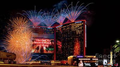 Photograph - Resorts World Las Vegas Grand Opening Fireworks Show Wide by Aloha Art