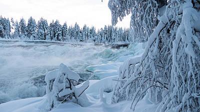 Photograph - Magic winter waterfall Storforsen in winter by Tamara Sushko