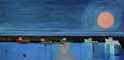 Painting - Melon Moon Over Mil Cove by Lynda Diamond