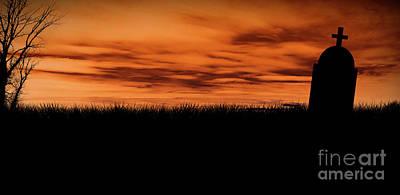 Photograph - Halloween cemetery silhouette by Jelena Jovanovic