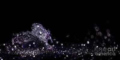 Photograph - Luxury venetian mask on dark silver bokeh background. New year e by Jelena Jovanovic