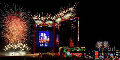 Photograph - Resorts World and the Strat 4th of July Fireworks Panoramic Photo 2021 by Aloha Art
