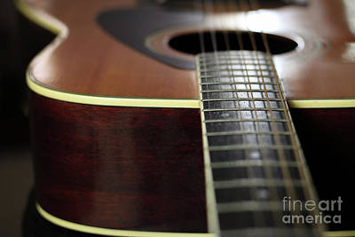 Photograph - Close up of guitar neck and strings by Doug Moore