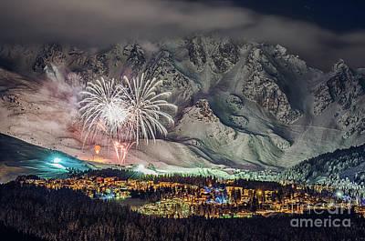 Photograph - Fireworks on snow by Sasha Samardzija