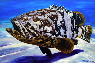 Painting - Goliath Grouper by Monika Urbanska