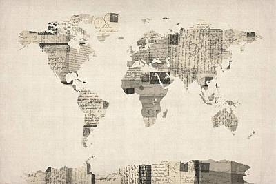 Antique Map Digital Art