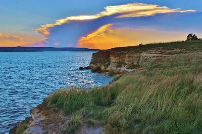 Photograph - Sunset Clouds Over The Cliffs At Lucas Park on Wilson Lake, Kansas.  by Greg Rud