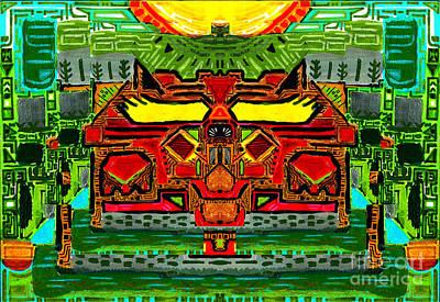 Mixed Media - Tigre-Aguila-Cielo I by Chipchaman