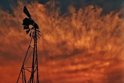 Photograph - Windmill with Clouds of Fire by Greg Rud