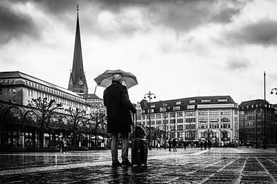 Photograph - Hamburg - man with umbrella and suitcase by Ute Herzog