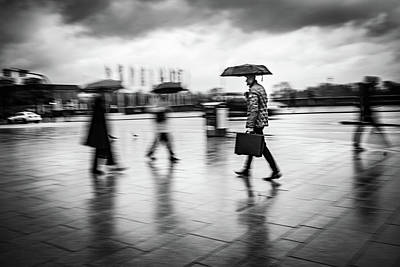Photograph - Man with briefcase and umbrella by Ute Herzog