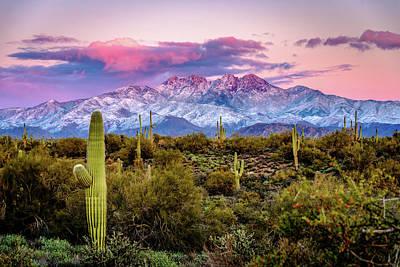 Photograph - Sno-capped Four Peaks by Joseph Plotz