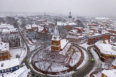 Photograph - Snowy Annapolis Church Circle by Mid Atlantic Aerial