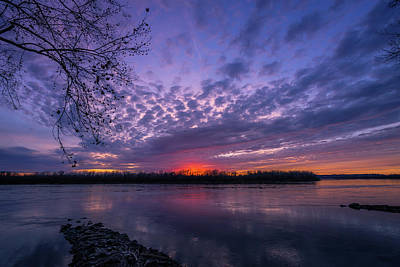 Photograph - Winter River Sunset by Heath Cajandig