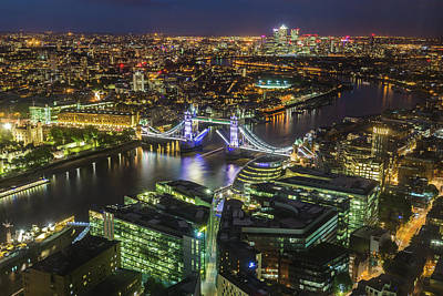 Photograph - London skyline at night by Travel and Destinations - By Mike Clegg