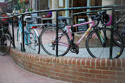 Photograph - Pink and Blue Bicycles by Simon Long