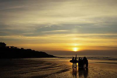 Photograph - Cornish Beach Sunset by Simon Long