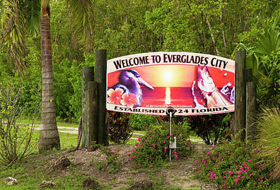 Photograph - Everglades City Welcome Sign by Bob Pardue