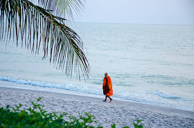 Photograph - Silhouette of monk walk by the sea , Thailand by Tamara Sushko