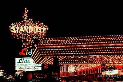 Photograph - Stardust Casino Facade Entrance at Night 1980 by Aloha Art