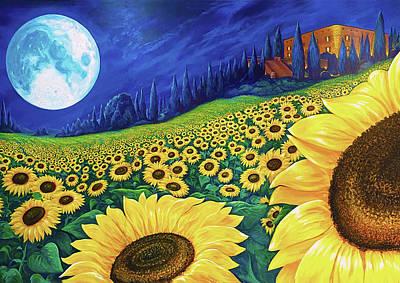 Digital Art - Sunflowers in Moonlight by Brenda Ferrimani