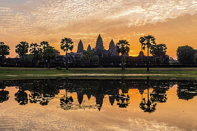 Photograph - Sunrise at the Angkor Wat by Travel and Destinations - By Mike Clegg