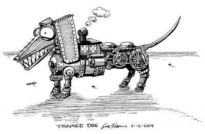 Drawing - Trained Dog by Eric Haines