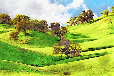 Painting - Trees on Rolling Hills - Watercolor by Russ Harris