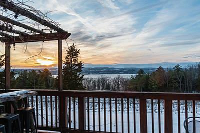 Photograph - Winter Seneca Lake Sunset over the Vineyards by Chad Dikun