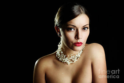Photograph - Woman with pearls and elegant makeup on dark background by Jelena Jovanovic
