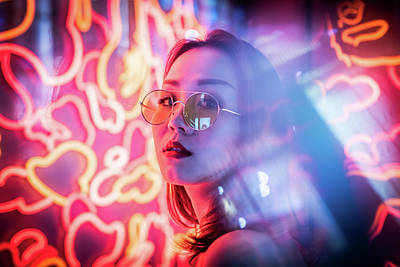 Photograph - Young Chinese woman neon portrait by Philippe Lejeanvre