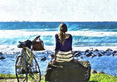 Digital Art - Young woman Contemplating  by Christine Sherborne