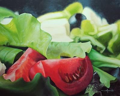 Painting - Caesar Salad Still Life by Nolan Clark