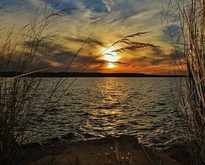 Photograph - Sunset Over Wilson Lake from Lucas Park in Kansas by Greg Rud