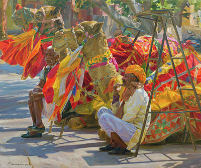 Painting - Camels of Rajasthan by Victoria Kharchenko