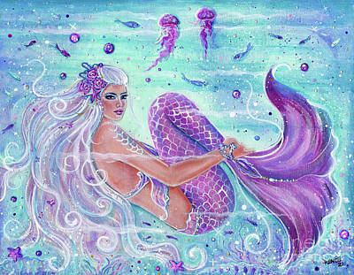 Painting - FUN beneath the wave mermaid by Renee Lavoie
