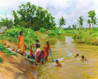 Painting - Life near the river by Victoria Kharchenko