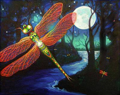 Painting - Mystical Dragonfly by Brenda Ferrimani