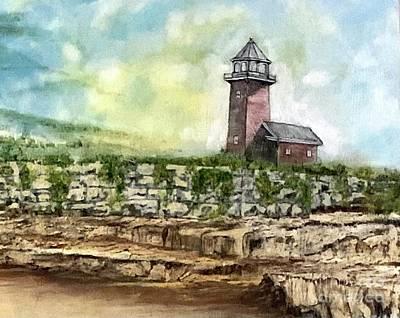 Painting - Santa Cruz Point Lighthouse Cliffs by Michael Silbaugh