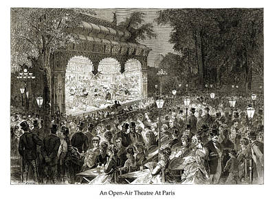 Drawing - An Open-Air Theatre At Paris by London Illustrated News