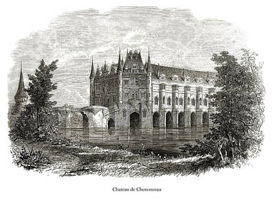 Drawing - Chateau de Chenonceau by London Illustrated News